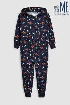 Older Kids Moose Print Christmas All-In-One (3-16yrs)