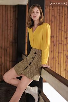 Warehouse Brown Sienna Check Skirt