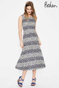 Boden Navy Posy Stripe Rosamund Jersey Dress