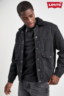Levi's® Black Denim Patch Sherpa Trucker Jacket