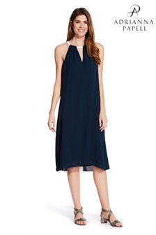Adrianna Papell Blue Colourblocked Trapeze Dress