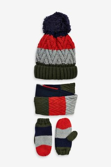 Colourblock Hat, Scarf And Gloves Three Piece Set (Younger)