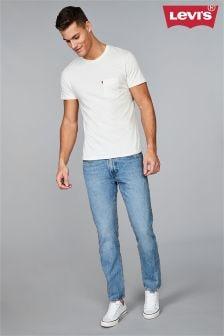 Голубые зауженные книзу джинсы с потертостями Levi's® 502™ Swaggu Warp