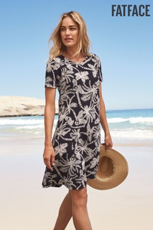 FatFace Black Simone Mono Palm Dress