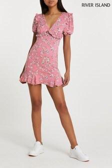 River Island Pink Medium V-Neck Frill Floral Mini Dress