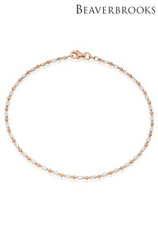 Beaverbrooks Silver Rose Gold Plated Sparkle Anklet