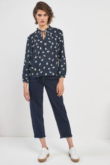 Whistles Navy Layla Print Blouse