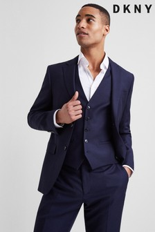 DKNY Slim Fit Navy Panama Open Weave Jacket