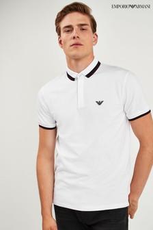 Emporio Armani ホワイト ポケット付き ティップ ロゴ ポロシャツ
