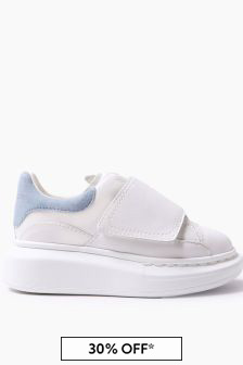 Kids White/Blue Leather Velcro Trainers