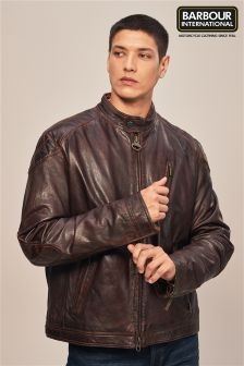 Barbour® International Brown James Leather Jacket