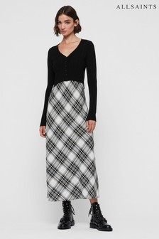 AllSaints Black Check 2-In-1 Jumper Dress