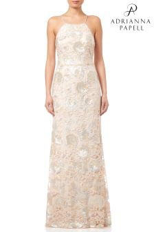 Adrianna Papell Halter Sequin Gown