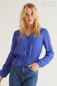 Oliver Bonas Blue Mini Floral Button Top