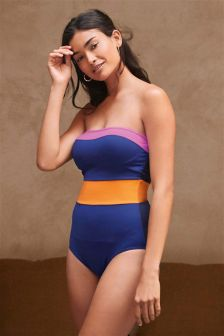 Colourblock Bandeau Shape Enhancing Swimsuit