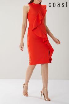 Coast Red Karly Ruffle Shift Dress