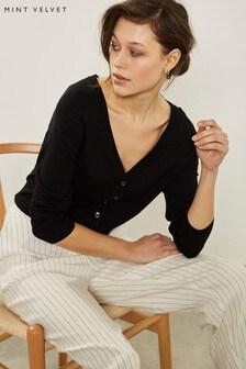Mint Velvet Black Two Way Button Front Cardigan