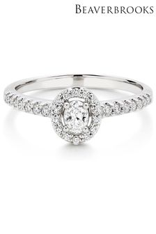 Beaverbrooks 18ct Diamond Pear Oval Shaped Halo Ring