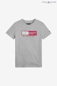 Szara chłopięca koszulka Tommy Hilfiger Essential, z grafiką