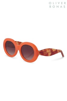 Oliver Bonas Orange Hollywood Round Sunglasses