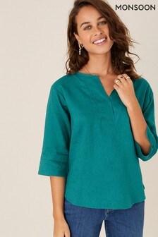 Monsoon Teal Daisy Plain Linen T-Shirt