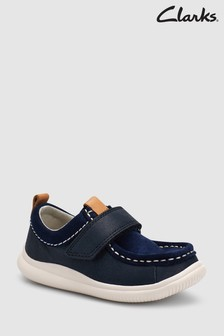 Clarks Navy Leather Cloud Sea Stitch Velcro Toddler Shoe