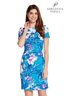 Adrianna Papell Blue Floral Printed Twill Dress
