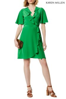 Karen Millen Green Silk Wrap Dress With Frills