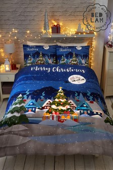 Bedlam Christmas Glow In The Dark Duvet Cover and Pillowcase Set