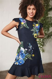Oasis Blue Pressed Flower Skater Dress