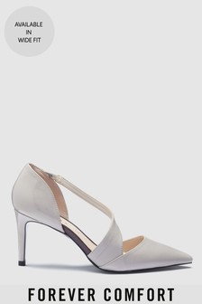 Leather Asymmetric Strap Court Shoes
