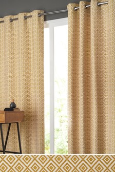Diamond Geo Jacquard Eyelet Curtains