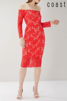 Coast Red Yasmin Bardot Lace Dress