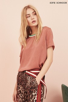 Sofie Schnoor Pink Tee With Contrast Neck Detail