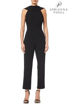 Adrianna Papell Black Knit Crepe Roll Neck Petite Jumpsuit
