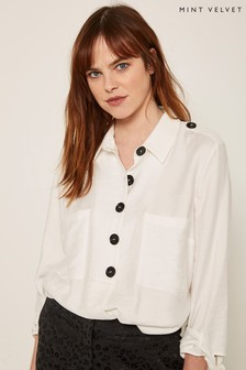 Mint Velvet Ivory Button Tie Sleeve Tunic