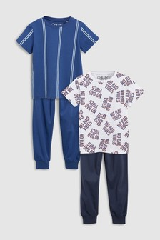 Slogan/Stripe Pyjamas Two Pack (3-16yrs)
