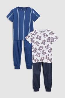 Набор пижамных комплектов с надписью и в полоску (2 компл.) (3-16 лет)