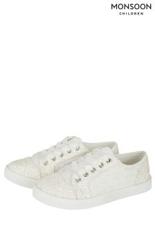 Monsoon Cream Flower Girl Lace Up Trainer