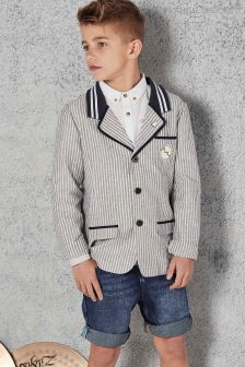 Angel & Rocket Blue And White Ticking Stripe Smart Tailored Jacket