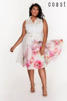 Coast Curve White Vivian Printed Cotton Voile Dress