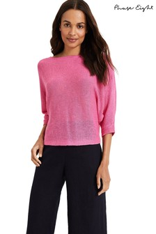 Phase Eight Pink Delmi Linen Batwing Knit Top