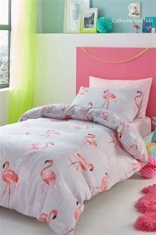 Catherine Lansfield Set aus Bettbezug und Kissenbezug mit Flamingo-Motiv