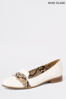 River Island White Snake Effect Trim Loafer