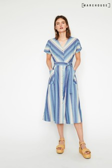Warehouse Blue Chevron Stripe Midi Dress