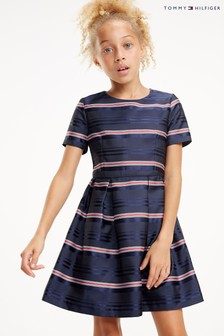 Tommy Hilfiger Blue Satin Stripe Dress