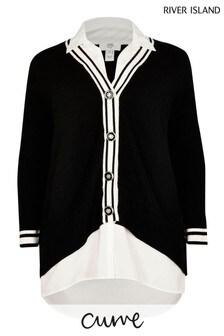 River Island Plus Black Shirt Hybrid Cardigan