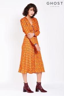 Ghost London Faith Durchgeknöpftes Crêpe-Kleid mit Muster, orange