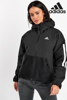 adidas Black 3 Stripe Hooded Jacket