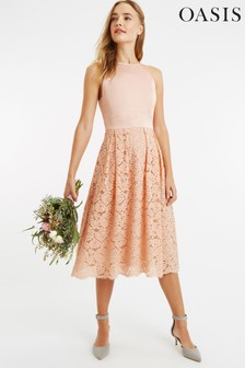 Oasis Pink Satin Bodice Lace Midi Dress